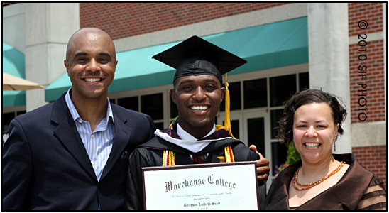 Terry and Dana Baker with 2010 Morehouse Graduate Bricesin Scott
