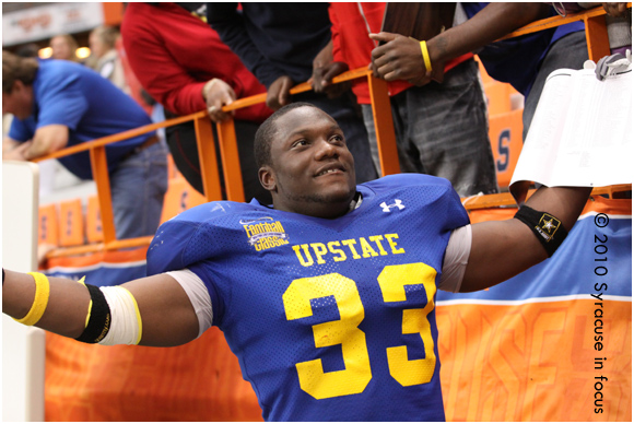 Upstate's Travon Burke, Most Valuable Defensive Lineman