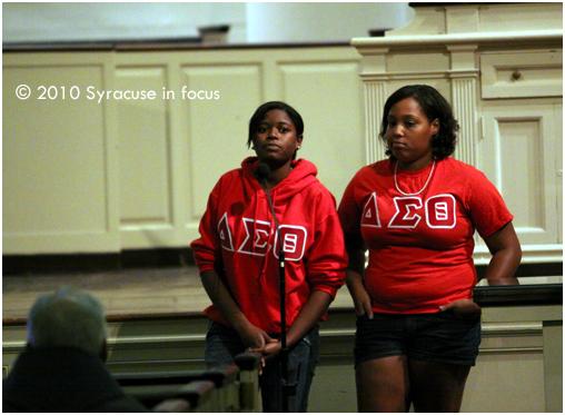 Members of Delta Sigma Theta discuss their sorority's rebuilding efforts