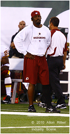 Washington Redskins quarterback Donovan McNabb stands on the sidelines during a preseason NFL football game against the New York Jets. McNabb did did not play.