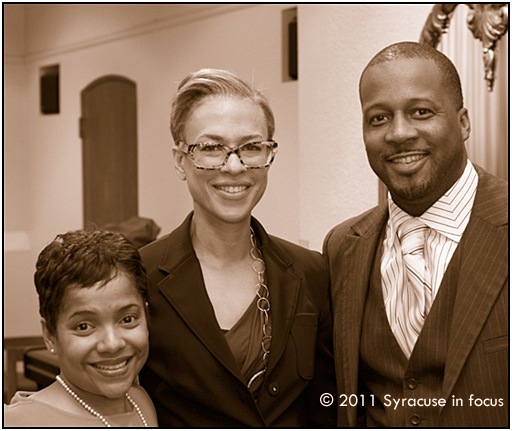 Salina B. Lazarus, Tonya Lewis Lee and Pastor Daren Jaime at Syracuse University