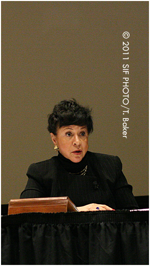 Philanthropist and entrepreneur Sheila C. Johnson spoke at SUNY Morrisville