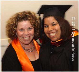 April Lea Gascon (right), International Relations Master's graduate, with her mother Yvonne.