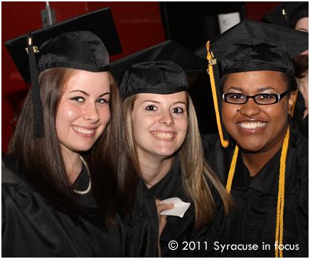 OCC graduates Tela Hamm, Melissa Guiles and Patrice Cage at the War Memorial