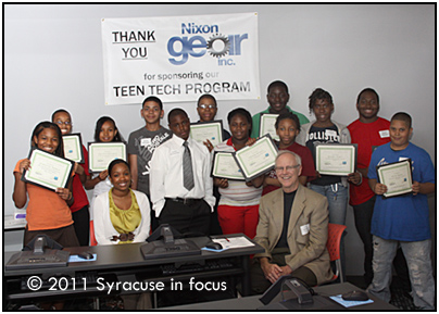 Teen Tech graduates with class sponsor Sam Haines (front right) and class instructor Natisha Crossman (front left)