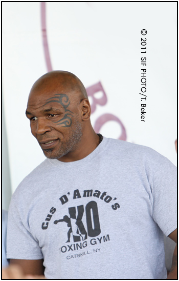 Former Heavyweight Champion Mike Tyson made a surprise visit to the Boxing Hall of Fame during Friday's festivities. Tyson was elected as a member of the 2011 Hall of Fame Class.