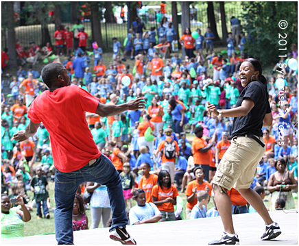 Perfect Combination: Say Yes Counselors Kenzell Cooper and Irene Hudson dance for the crowd.