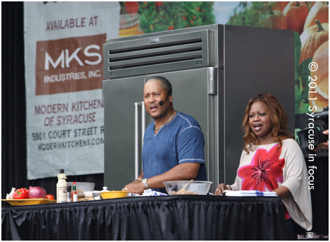 Pat and Gina Neely during an appearance at the New York State Fair yesterday.