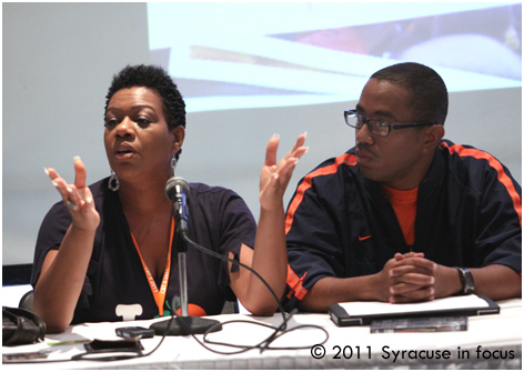 Michelle Walker Davis and Anthony Otero at Syracuse University's CBT X Networking discussion