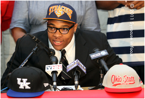 Jamesville-Dewitt Center DaJuan Coleman cited playing close to home and the family atmopsher in his decision to play basketball at Syracuse over Kentucky or Ohio State.