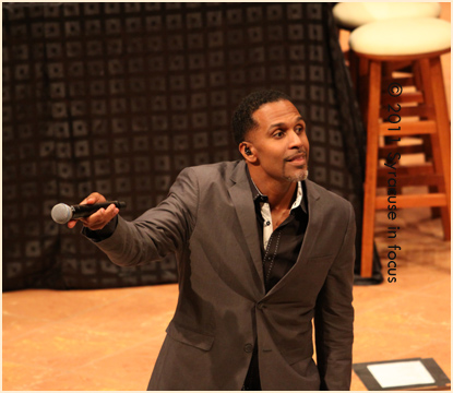 Joey Kibble of Take 6 gets the crowd involved at Holy Cross Church