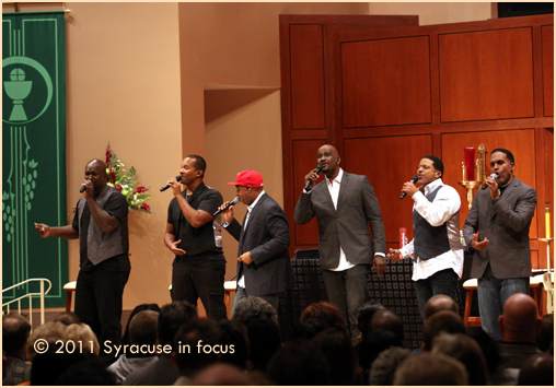 Take 6 on stage at Holy Cross Church
