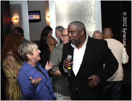 Michael Houston mingles on the dance floor