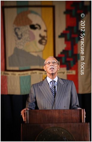 Hon. Dave Bing, Mayor of Detroit, gives the keynote address at Syracuse University's 27th Annual Dr. Martin Luther King, Jr. Celebration.