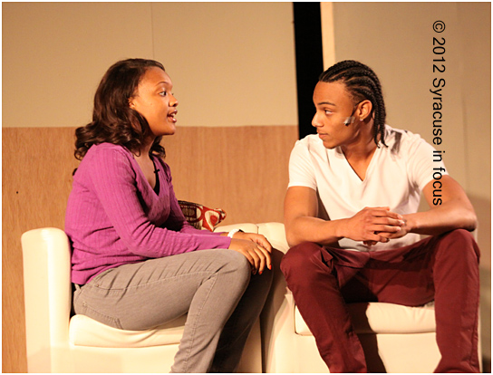 Shanaya Day-Merkerson and Carlos Oyola on stage for A Teenage Love