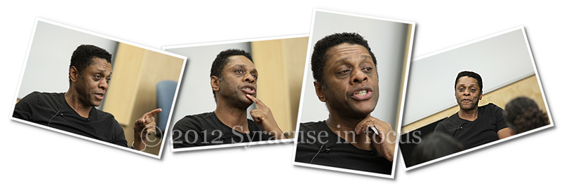 Actor, director, writer Lawrence Hilton Jacobs speaks at Syracuse University on Wednesday.