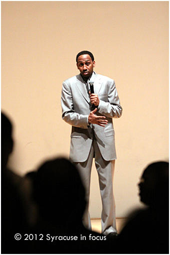 Stephen A. Smith tells SU students to pay their dues.