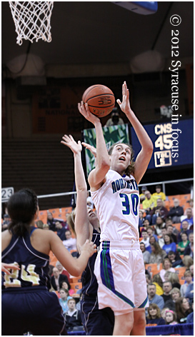 CNS center Breanna Stewart goes for two of her 30 points on FRiday in the Carrier Dome.