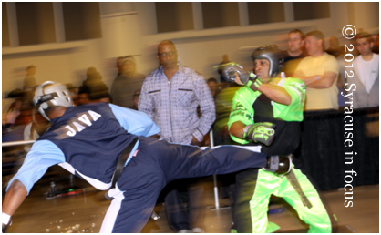 CNY Martial Arts Experts El Java Qadir and Carlos Tearney do battle at last weekends SMAC tournament in Niagara Falls.