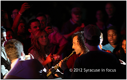Hold On: Kenny G holds a note as he walks through the crowd at Jazz Fest to kick off his set on Saturday night.