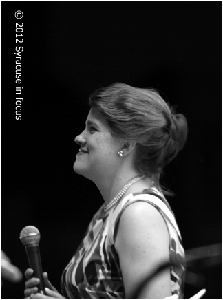 Vocalist Catherine Gale sings with the CNY Jazz Orchestra during the CandleLight Series in Armory Square last weekend.