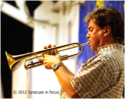 Paul Merill on stage with the CNY Jazz Orchestra