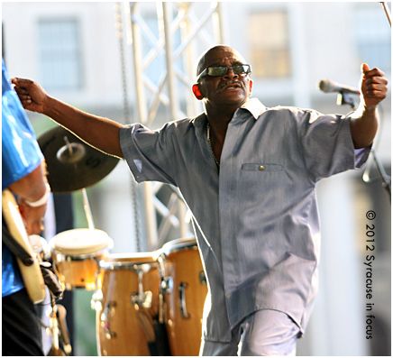 "Eddie ""Wall St"" Brown dances during a set at the Northeast Jazz & Wine Festival on Friday night."