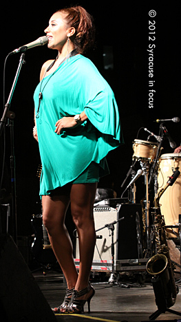 Jessy J, the Spanish-speaking smooth jazz saxophonist who grew up in Cali, showed she was a triple threat during her peformance in Syracuse on Saturday. Jessy J played (accompanied by Urban Coalition), she danced, and she sang to close out this year's 2012 Northeast Jazz & Wine Festival.