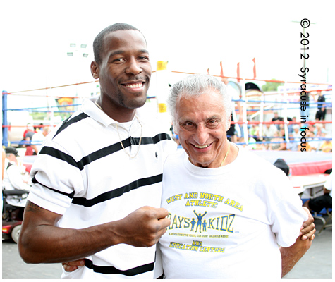 Boxer Ryon McKenzie and Trainer Ray Rinaldi enjoy the fights at the NYS Fair (outside the Colesium).