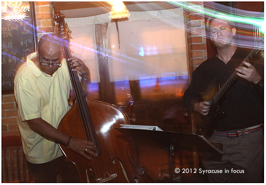Bill Horrace and Cori Cali play (with Dave Solazzo, not pictured) at Phoebe's Restaurant last night.