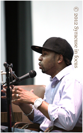 Hasan Stephens, aka DJ Maestro, Hip Hop Scholar and Radio Executive, during a lecture at Syracuse University earlier this year.