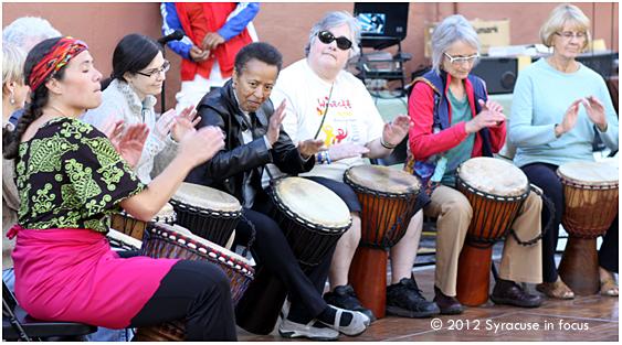 Women drummers drumming (Wacheva Cultural Arts student group)