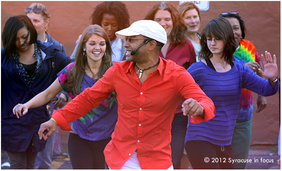 Roberto Perez, founder of La Familia de la Salsa, counducts an impromptu class at the Harvard Dance Stage (Westcott Festival)