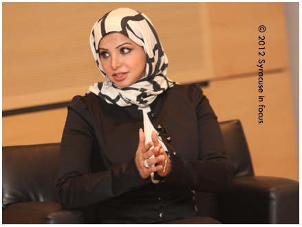 Journalist Lamees Dhaif speaks at Syracuse's Newhouse School of Public Communication.