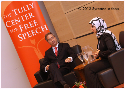 Dhaif is an award-winning reporter and writer. Her work covers protests and highlights human rights abuses in the Middle East. She is the 5th winner of the Tully Center for Free Speech Award. She is interviewed here by Tully Center Director Roy Gutterman, a professor at SU.
