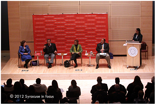 The Past is Not Past: The Continuing Quest for Racial Justice and Peace panel at Newhouse III (l to r: Janis MacDonald, Andrew Young, Linda Carty, Martin Luther King, III, Paula Johnson)