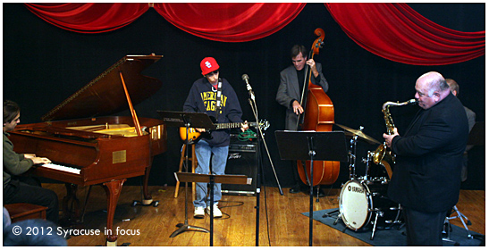 Ryan Fox (guitar) jams with the musicians at Jazz Central on Saturday.