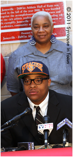 Dajuan Coleman talks about his decision to attend SU during a press conference.