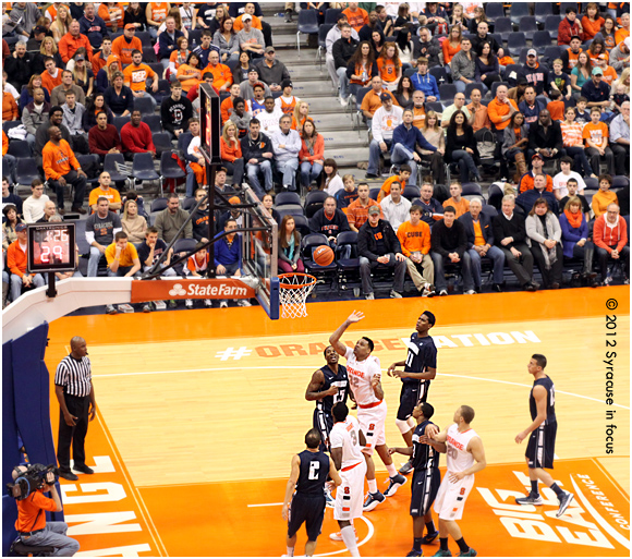 Dajuan Coleman makes an impact on the floor as a SU freshman a few weeks ago.