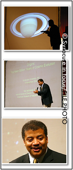 Astrophysicist Dr. Neil deGrasse Tyson visited Syracuse University in 2004.