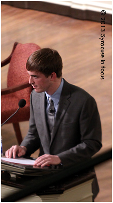 SU Graduate Stephen Barton, outreach assistant for Mayors Against Illegal Guns in NYC and a victim of the Aurora Co. theater shooting, was the keynote speaker for tonight's Gun and America: Joning the Conversation Forum held at Hendrick's Chapel.