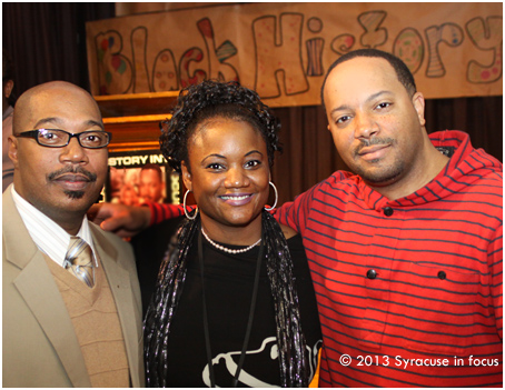 Georgia Businessmen John Walker (left) and Jason Geter came to Syracuse to participate in the Syracuse City School District's Black History Program. They are pictured here with organizer and Syracuse Special Education teacher Karen Blue.