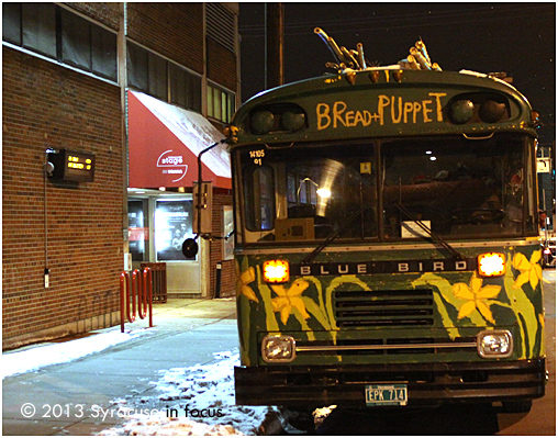 The Bread & Puppet Theater Co (based in Vermont) was in Syracuse this week as part of their tour for the firms 50th Anniversary. The company combines dance with political satire, street theater and puppetry. Here is a photo of their bus parked along the Connective Corridor.