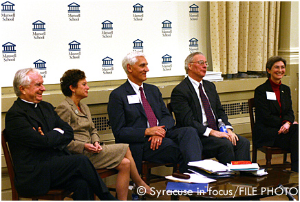 Syracuse-area college presidents: Beirne, Cantor, Eastwood, Murphy & Sydow