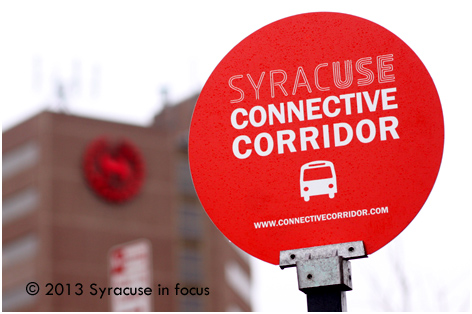 New Signs (designed in Syracuse) now dot the Connective Corridor Bus Route.
