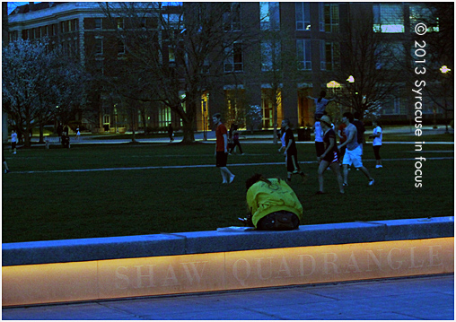 The Syracuse University Shaw Quadrangle on the last evening of classes for the semester.