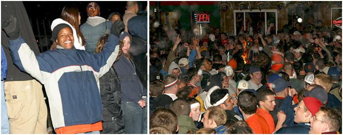 Students celebrate on Marshall Street following Syracuse's win in the 2003 NCAA Men's Basketball Championship game.