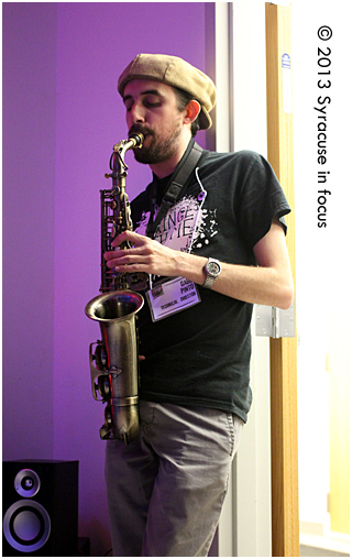 Fringe Technical Director Gabriel Pinto occupies Saturday night with a sax solo.