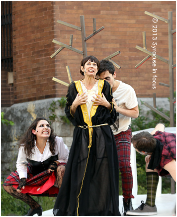 Laura Austin as Lady Macbeth with witches Allie Villa (right) and Tyler Spicer