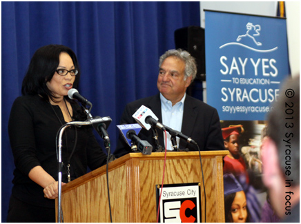 Current and former Syracuse City School Superindendent Sharon Contreras and Daniel Lowengard speak about the success of Say Yes.